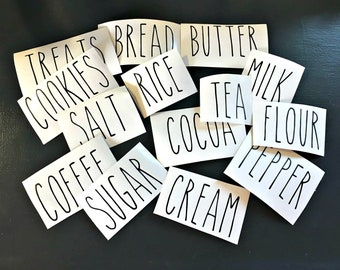 Rae Dunn inspired Farmhouse vinyl decals FREE SHIPPING coffee, sugar, cream, salt, pepper,tea, cocoa, milk, flour, rice, cookies, treats