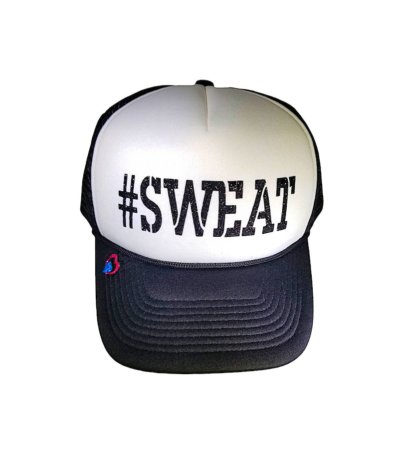 f2cc9205d SWEAT hat, comfortable, soft, fitness motivation trucker hat, subtle black  glitter. SWEAT, because our loved ones need us happy & healthy!