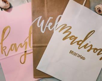 custom wedding gift bag + calligraphy