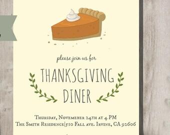 Pie Thanksgiving Holiday Invitation