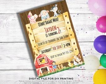 Two year old invites etsy barn yard friends farm animal 2 year old birthday invitation custom digital card diy print filmwisefo