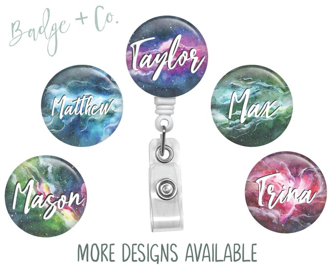 Outer-Space Galaxy Themed Badge Reel Faces Stars Planets Retractable Badge Reel ID Holder Gift