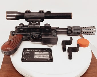 Han Solo blaster (blaster DL-44,REMOVABLE optical sight, FREE shipping,Han Solo costume, 3D printed, cosplay, props)