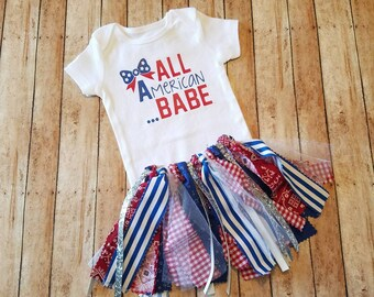 ALL American Babe! 4th of July! Independence Day! Red, white and blue! Fabric tutu and bodysuit!