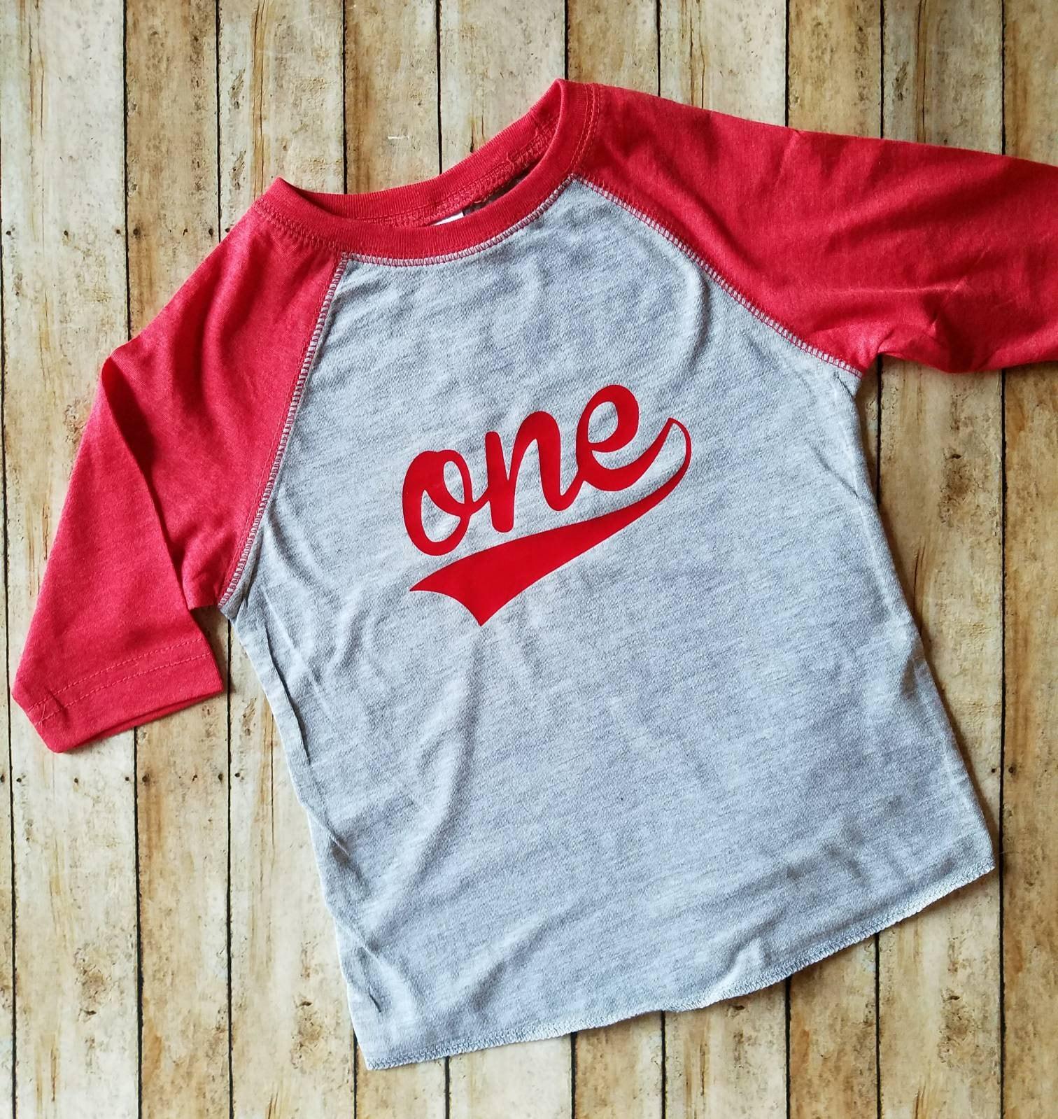 ONE First Birthday Baseball Style Raglan Shirt Can Change