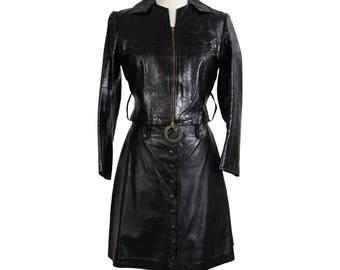 J. Graci vintage black leather suit skirt rockabilly women's 1960s