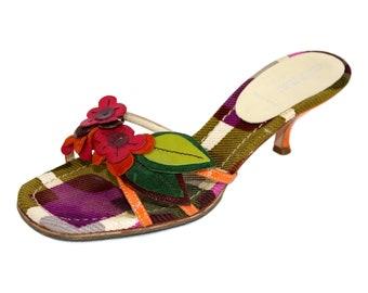 7d356bf4b7b8 Miu Miu Shoes Sandal Floral Heel Leather Vintage Violet Green