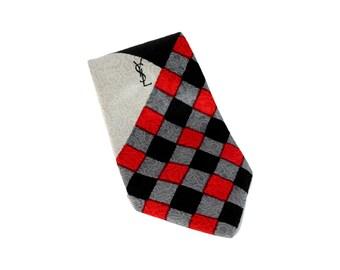 52bfbebd2f269 Yves Saint Laurent Tie Check Silk Vintage Black Red