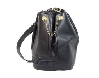 4af5b2971afc Gianni Versace Vintage Blue Leather Bucket Bag