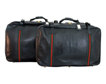 6b7bf9b95542 Gucci Vintage Black Leather Travel Luggage Set Bag