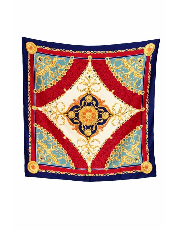 Givenchy Vintage Scarf Silk Baroque Red Blue Gold
