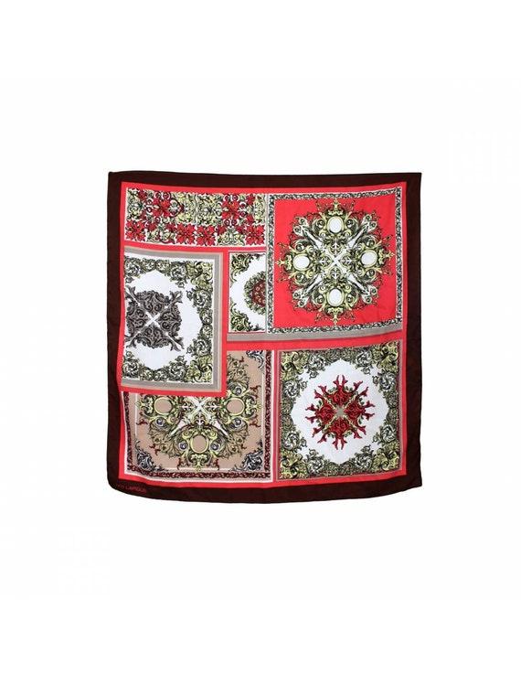 Ted Lapidus Scarves Floral Vintage Brown Red