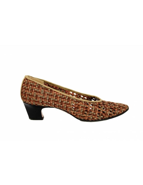 Yves Saint Laurent Vintage Heel Woven Shoes Leath… - image 1
