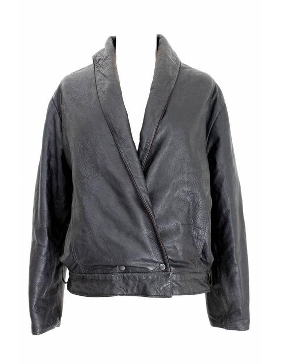 Byblos Vintage Leather Jacket Short Black