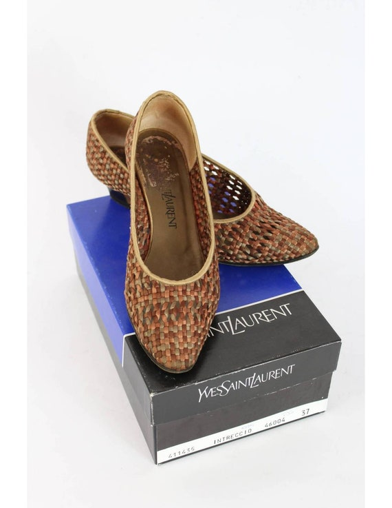 Yves Saint Laurent Vintage Heel Woven Shoes Leath… - image 7