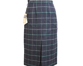 Burberry Scottish Vintage Blue Wool Check Skirt