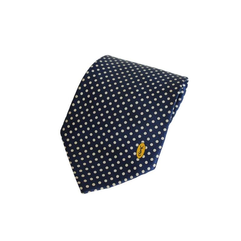 dbbe1f792e822 Yves Saint Laurent Tie Polka Dot Handmade Silk Vintage Blue