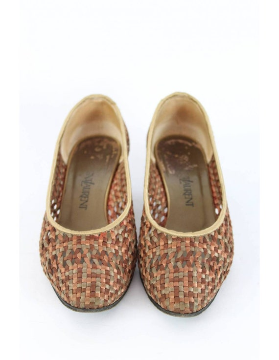 Yves Saint Laurent Vintage Heel Woven Shoes Leath… - image 2