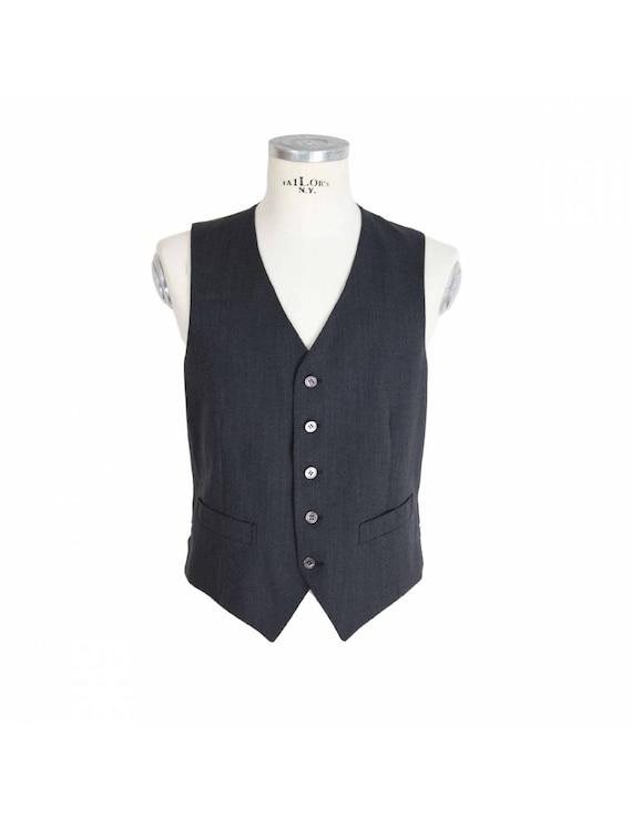 Pierre Cardin Waistcoat Satin Vintage Dark Gray Wo