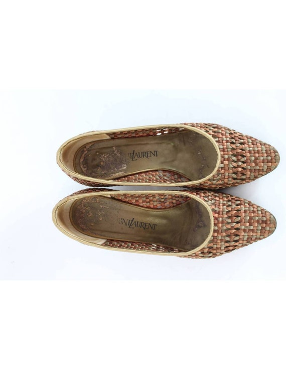 Yves Saint Laurent Vintage Heel Woven Shoes Leath… - image 5