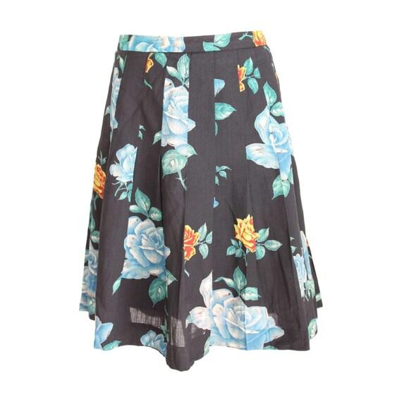 a8982ba108 Cacharel Skirt Floral Wool Vintage Black | Etsy