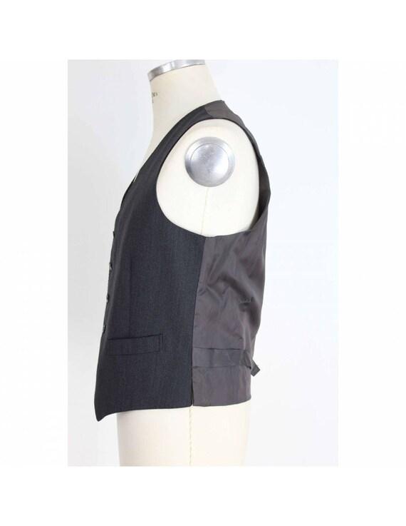 Pierre Cardin Waistcoat Satin Vintage Dark Gray W… - image 2