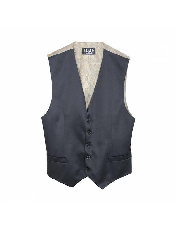 Dolce & Gabbana Vintage Black Wool Vest