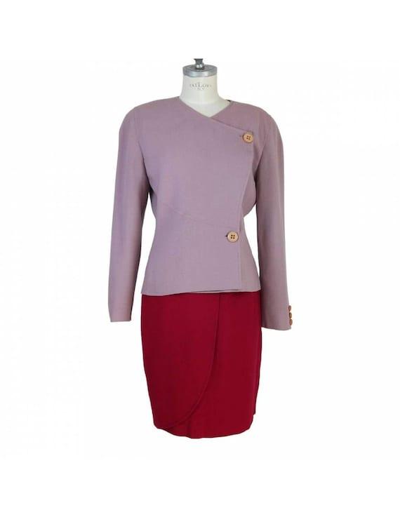 Mila Schon Vintage Purple Wool Tulip Skirt Suit