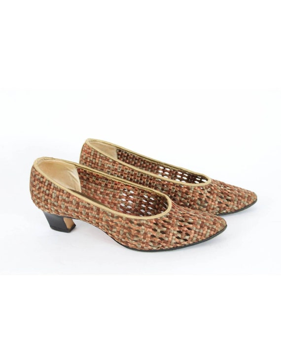 Yves Saint Laurent Vintage Heel Woven Shoes Leath… - image 3