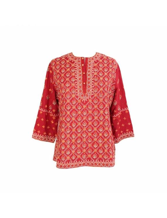 Ritu Kumar Floral Shirt Floral Cotton Vintage Red