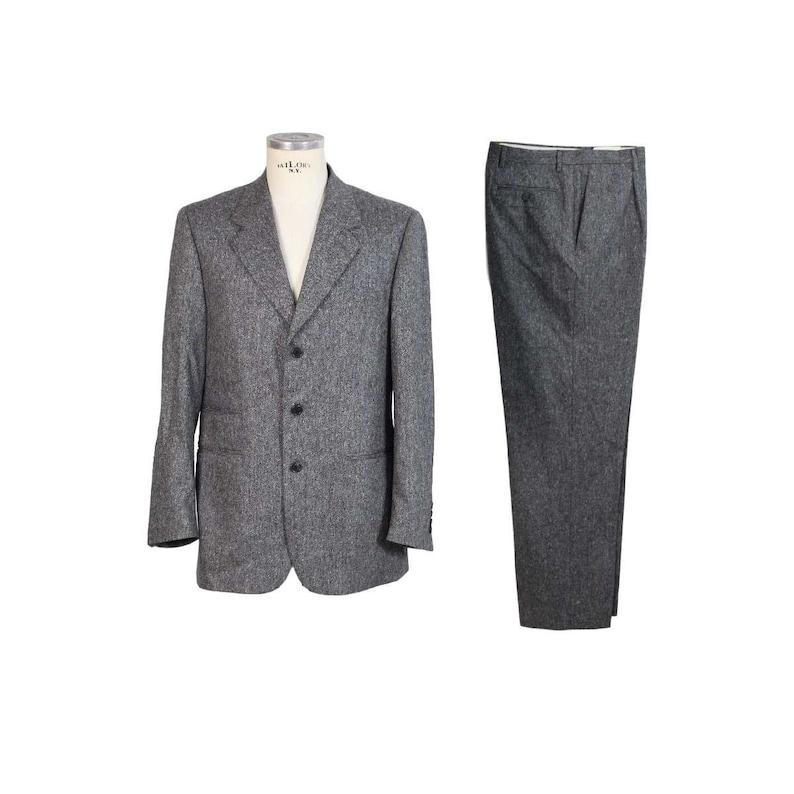 23fcfaa91c7f2b Roberto Capucci Tweed Wool Vintage Black Suit Jacket Trousers | Etsy