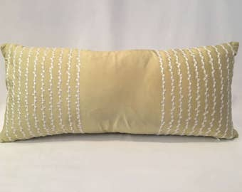 """10"""" x 22"""" Romo Celery Green Silk with Embroidery"""