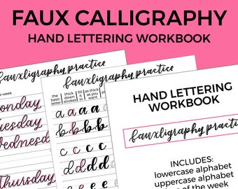 Hand lettering workbook, fauxligraphy, learn modern calligraphy, lettering practice sheets, days of the week, months of the year, numbers