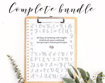 Brush Lettering Workbook COMPLETE Bundle, hand lettering practice for small and large brush pens, 2 font styles, bouncy lettering  practice