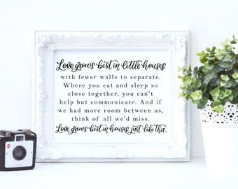 Love Grows Best hand lettered print, digital download, multiple sizes: 8x10, 11x14, 11x17, mothers day gift, home decor, home typography