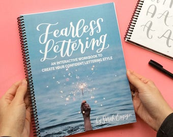 NEW! Fearless Lettering Workbook, Learn hand lettering, brush lettering workbook, learn calligraphy, find your lettering style