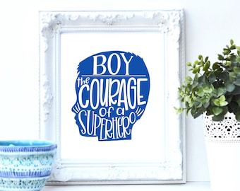 Little boy room 8x10 digital download, hand lettered print, boy silhouette, blue nursery art, baby shower gift