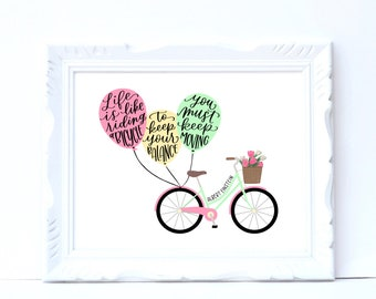 8x10 digital download, hand lettered print, Einstein quote, Life is Like Riding a Bicycle, gift for her, motivation wall art