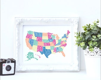 USA map collage, hand lettered usa print, usa chalkboard print, blank usa map outline, digital print, instant download