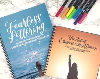 Fearless Lettering Workbook AND The Art of Empowering Women, Learn hand lettering, brush lettering practice, hand lettered gift