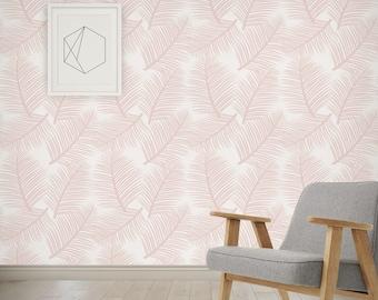 LAST FEW UNITS 70% off Wallpaper Palm Leaf Garden in Blush Pink - Wall Decor Tropical Palm Leaves