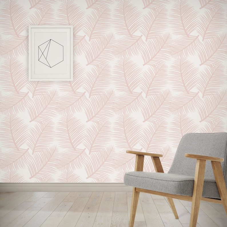 Wall Decor Tropical Palm Leaves Wallpaper Palm Leaf Garden in Blush Pink