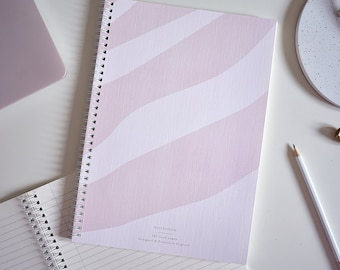 A4 Notebook Lined Pages - Pink Waves - FSC-certified
