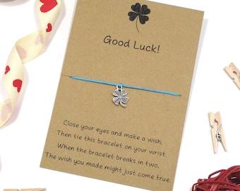 good luck bracelet, wish bracelet, good luck gift for exams, new job, four leaf clover charm, string bracelet, best friend jewellery jewelry