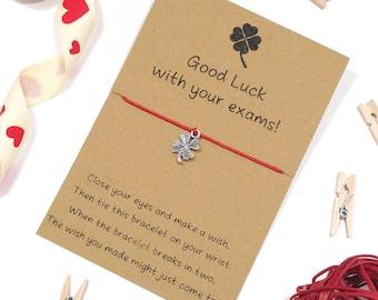 exam gift, good luck wish bracelet, exam wish bracelet, good luck gift, good luck in your exams, four leaf clover charm, string bracelet