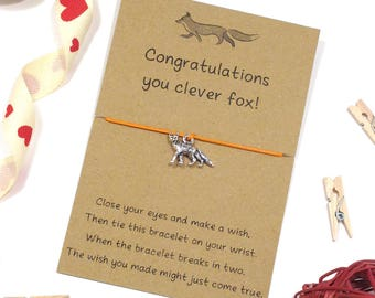 you clever fox wish bracelet, fox bracelet, congratulations bracelet, friendship bracelet, cord bracelet, well done card, fox charm bracelet