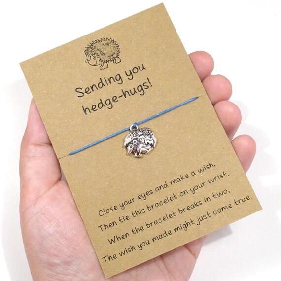 Hedgehugs Wish Bracelet Friendship Bracelet Hedgehog Charm Bracelet Tiny Hedgehog Wish Bracelet Hedgehog Jewelry Hedgehog Bracelet
