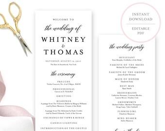 Wedding Program Template. Wedding Programs. Wedding Programs Instant Download.  Wedding Program Template Download. Printable Program. (BR)