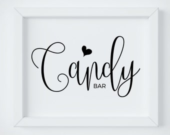 Candy Bar Sign Printable Buffet Wedding Signage Rustic Template Instant Download PDF