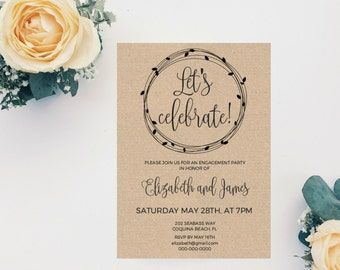 Engagement Party Invitation, We're Engaged, Wedding Template, Printable Engagement Invitation, Wedding Engagement Party Invitation, digital